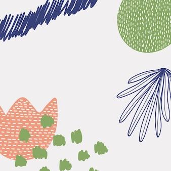 Fondo floral abstracto de memphis en verde colorido