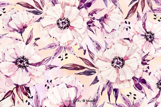 Fondo floral acuarela con colores suaves