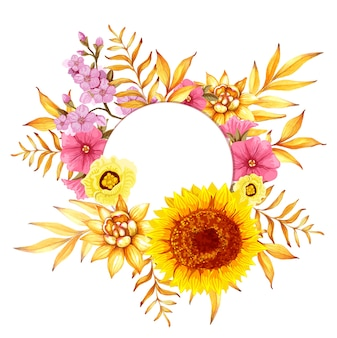 Fondo floral acuarela dibujada a mano redonda con rama de sakura y girasol