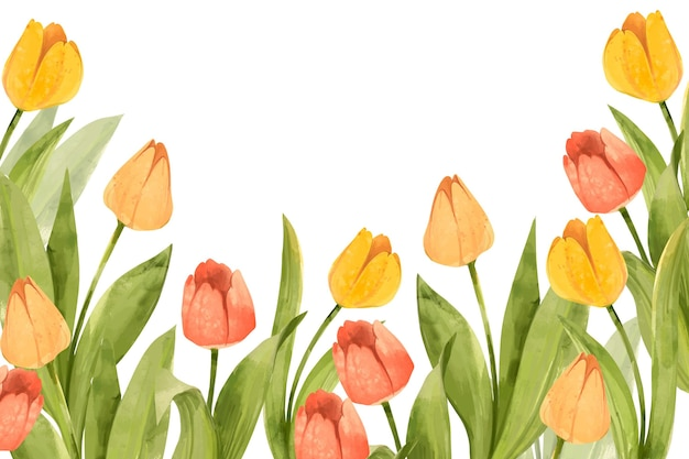 Fondo floral acuarela dibujada a mano