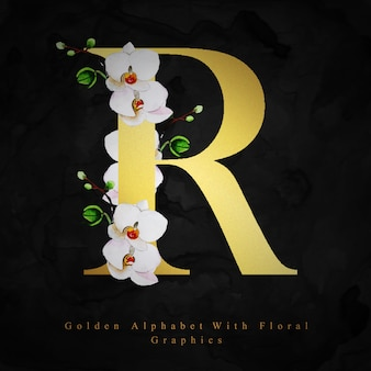 Fondo floral acuarela dorada de la letra r