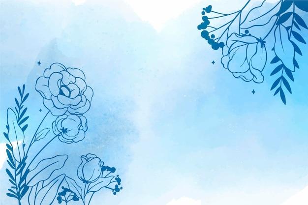 Fondo floral acuarela con elementos dibujados a mano