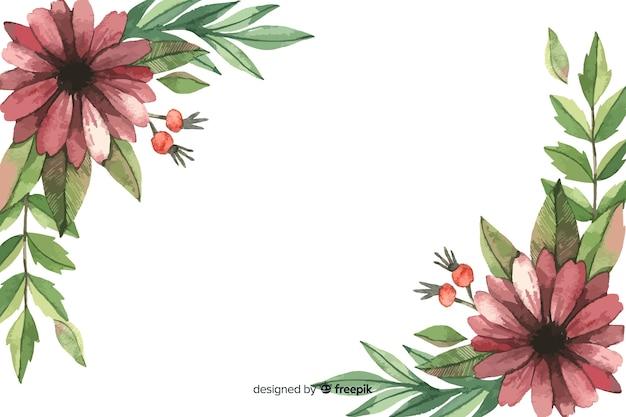 Fondo floral acuarela flores granate