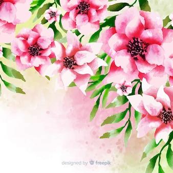 Fondo floral acuarela con hermosas flores rosadas