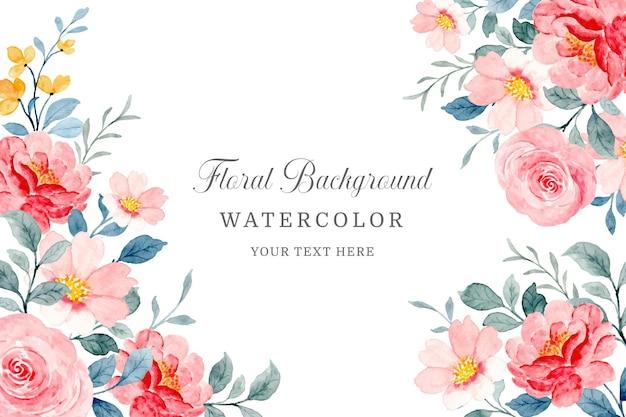 Fondo floral acuarela. hermoso marco de flores rojas y rosadas