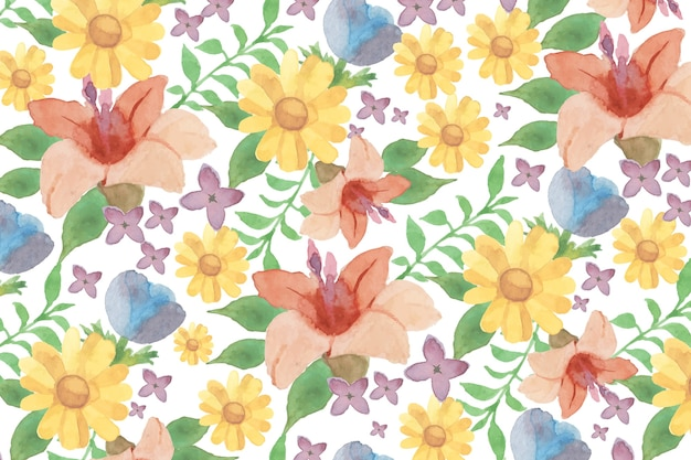 Fondo floral acuarela con lirios