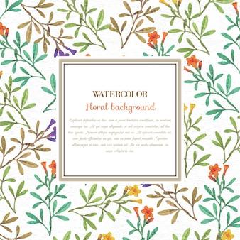 Fondo floral de la acuarela con el marco