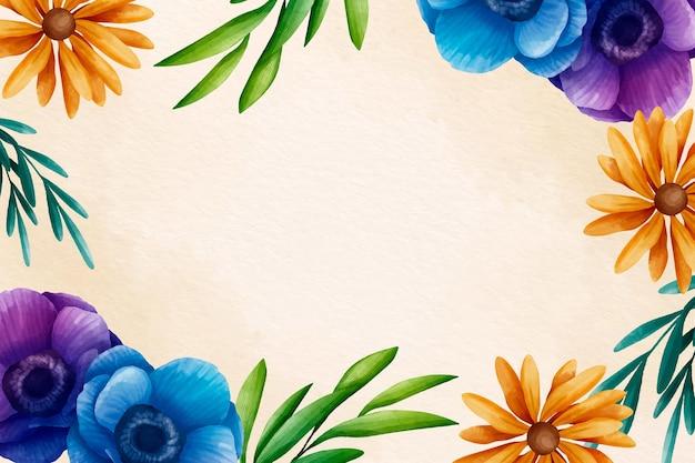 Fondo floral acuarela pintada a mano vector gratuito