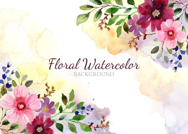 Fondo floral acuarela pintada a mano