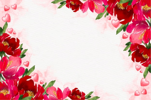 Fondo floral acuarela de san valentín