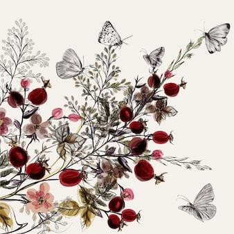 Fondo floral en acuarela