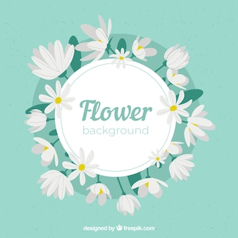 Fondo floral adorable con diseño plano