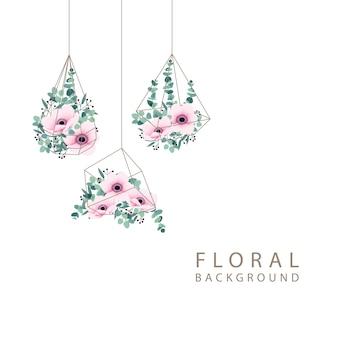 Fondo floral con anémona y eucalipto.