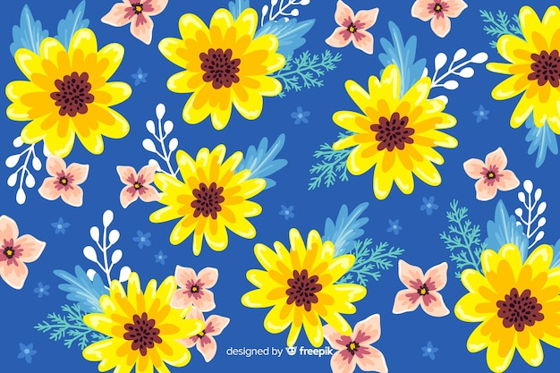 Fondo floral artístico pintado a mano