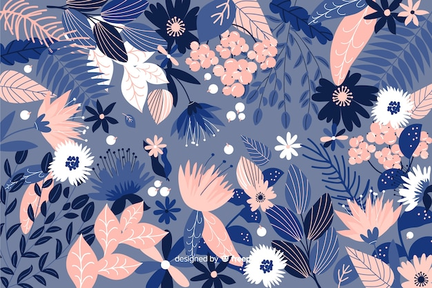 Fondo floral azul dibujado a mano
