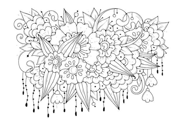 Fondo floral blanco y negro para colorear. Vector Premium