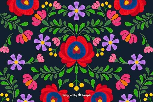 Fondo floral bordado mexicano