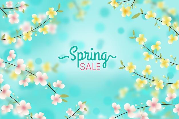 Fondo floral borroso de las ventas de primavera