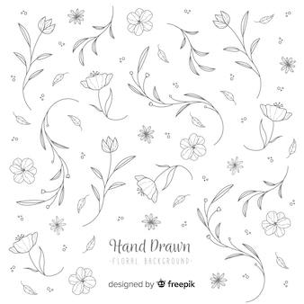 Fondo floral sin color dibujado a mano