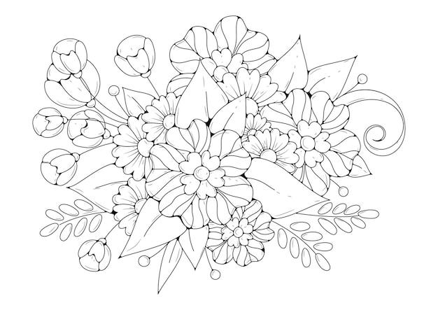 Fondo floral para colorear. fondo blanco y negro. Vector Premium