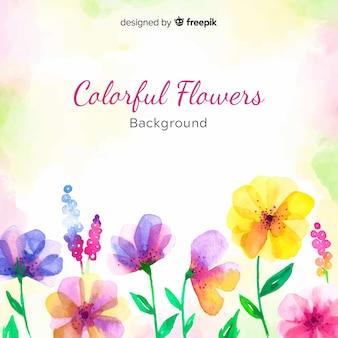 Fondo floral colorido en acuarela