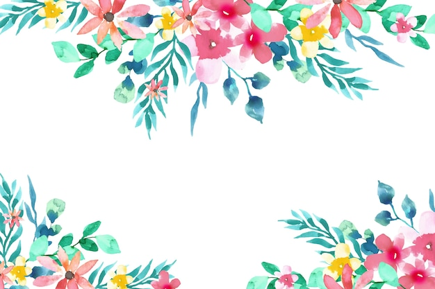 Fondo floral colorido acuarela