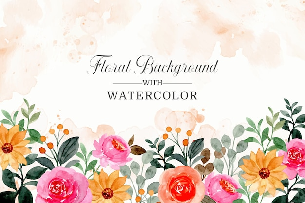 Fondo floral colorido con acuarela