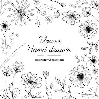 Fondo floral colorido con estilo de dibujo a mano