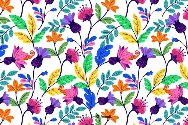 Fondo floral colorido dibujado