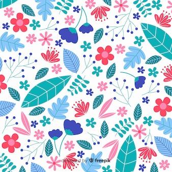 Fondo floral colorido en diseño plano