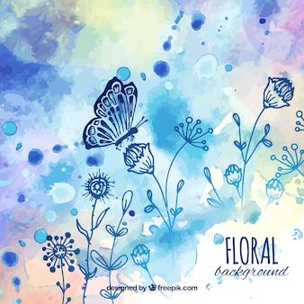 Fondo floral con estilo de dibujo a mano