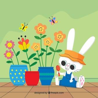 Fondo floral con lindo conejo
