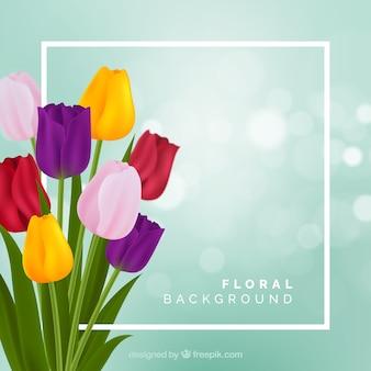 Fondo floral con tulipanes realistas