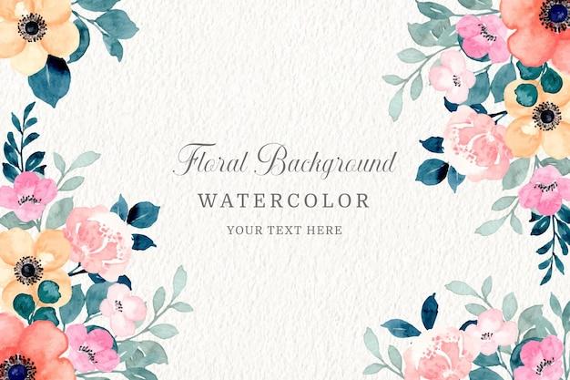 Fondo floral crema y rosa con acuarela