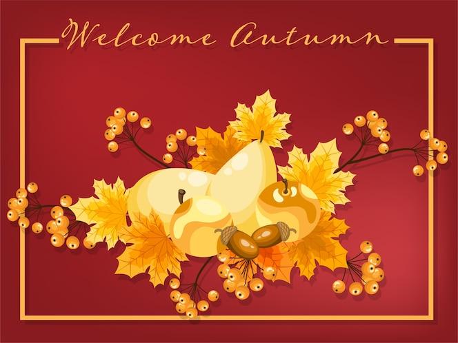 Fondo floral de otoño con texto de bienvenida de otoño.