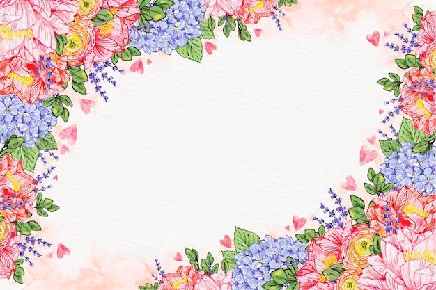 Fondo floral del día de san valentín en acuarela