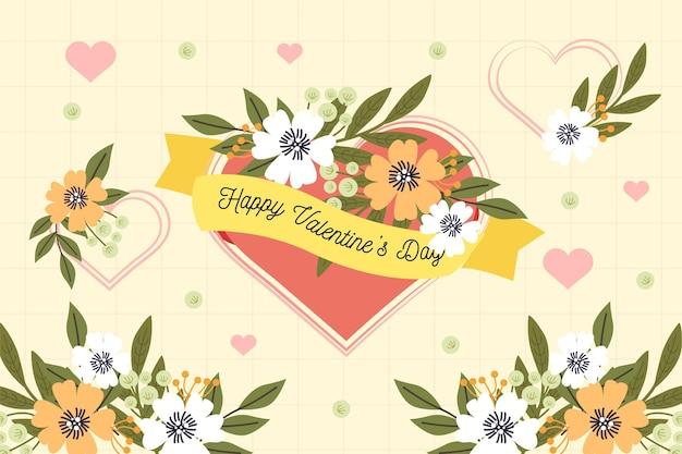 Fondo floral del día de san valentín de diseño plano