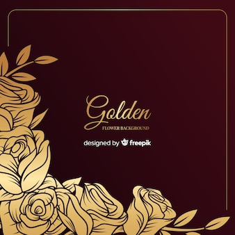 Fondo floral dibujado a mano dorado