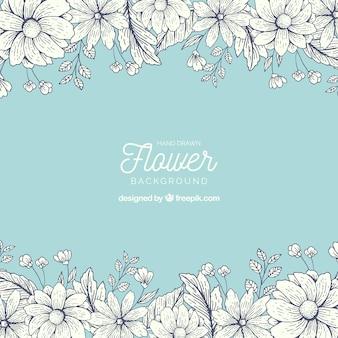 Fondo floral dibujado a mano con estilo colorido