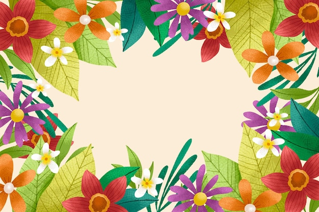 Fondo floral dibujado a mano con textura de grano