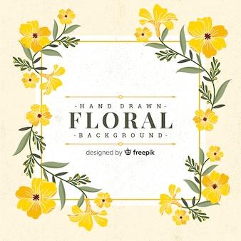 Fondo floral dibujado mano vintage