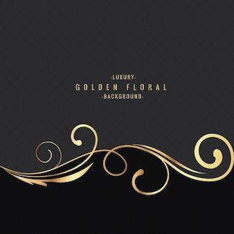 Fondo floral dorado de lujo