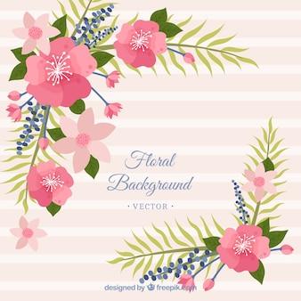 Fondo floral en estilo plano