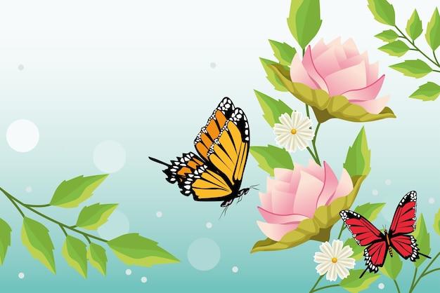 Fondo floral con escena de mariposas y flores.