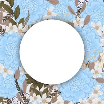 Fondo floral con espacio en blanco redondo