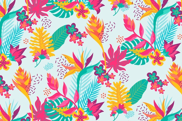 Fondo floral exótico colorido