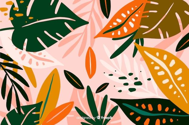 Fondo floral exótico dibujado a mano