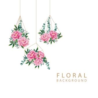 Fondo floral con flor de peonía y hoja de eucalipto.