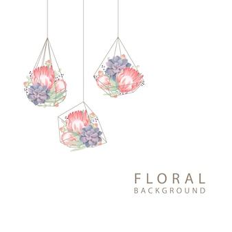 Fondo floral con flor de protea y suculenta en terrario.