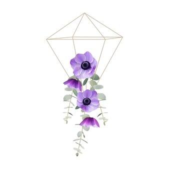 Fondo floral con flores de anémona floral en terrario